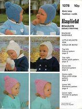 Hayfield 1078 Vintage Baby Knitting Pattern 6 -18 months Warm Hats DK