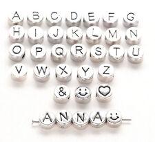 10 Buchstaben Perlen Metall 7mm  FREI WÄHLBAR bsm10