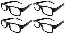 Reading Glasses [+4.00] 4 Pair Black Plastic Frame  Wholesale Lot Reader 4.00