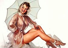 Large Framed Print - Gil Elvgren Classic Vintage Pin Up With Umbrella (Picture)