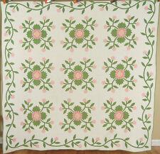 Well Quilted Pre Civil War 1850s Whig Rose Applique Antique Quilt w/ Vine Border