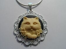 With Flowers Cameo Pendant-Cat