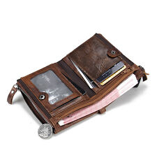 Fashion Genuine Crazy Horse Cowhide Leather Men Wallet Short Coin Purse Small