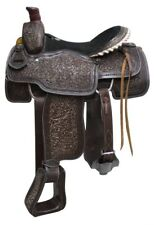 """Western Black Washout Hand Carved Roping Ranch Saddle with Strings 18"""""""