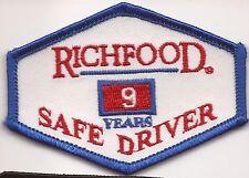 Richfood Truck driver patch 9 yrs Richmond, VA food distributor.2-3/8 X 3-1/4
