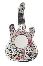 Reflectante Mosaico/Madera Guitarra Decoración De Pared Placa 45.7cm largo,Rosa