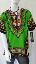 Hippie Boho Tribal African Dashiki Cotton T Shirt Kaftan Green Mexican Poncho