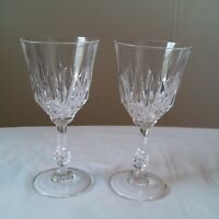 """Crystal Wine Glasses Set Of Two Classic Cut Pattern Design 7"""" tall"""