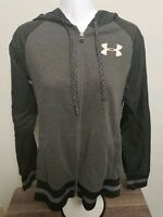 Under Armour Womens Full Zip Up Hooded Jacket Large Fitted Gray CLEAN NO SMELL