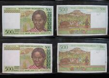 New listing Madagascar 500 Francs 1994 Consecutive Serial 52# Bank Currency Money Banknote