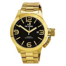 TW Steel Men's Watch Canteen Quartz Black Dial Yellow Gold Bracelet CB92