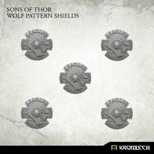 Kromlech Sons of Thor: Wolf Pattern Shields (5) Brand New KRCB209