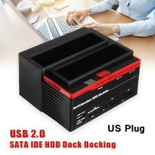 External Dual 2.5/3.5'' SATA IDE HDD Hard Drive Docking Clone Card Reader