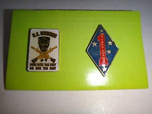 2 Vietnam War Lapel Pins: US MARINES Mess W Best Die Like Rest + 1st MARINE DIV