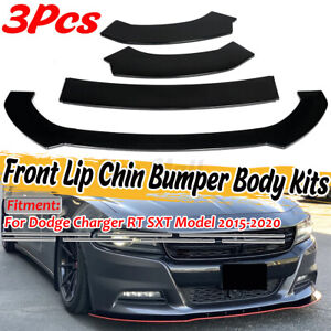 3X Black Front Bumper Lip Spoiler Splitter For Dodge Challenger Charger R/T SRT