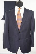 OXXFORD CLOTHES Two Button Navy Blue Striped Wool Suit Size 40R Jacket 34 Pants