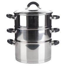3 Tier Stainless Steel Food Veg Steamer Set 20cm Induction Base Vented Lid NEW