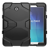 "Heavy Duty Hybrid Military Armor Case For Samsung Galaxy Tab E 9.6"" T560 Black"
