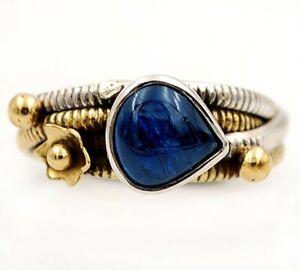 Two Tone- Blue Kyanite -Brazil 925 Sterling Silver Ring Jewelry Sz 7.5 ED3-1