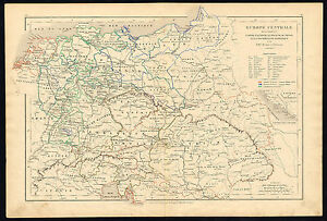 Antique map-HISTORICAL-CENTRAL EUROPE-EMPIRE-AUSTRIA-PRUSSIA-Drioux-Leroy-1854