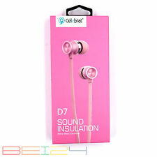 Samsung S9+ Plus Universal D7 Headset Kopfhörer Rosa Hybird In-Ear BASS