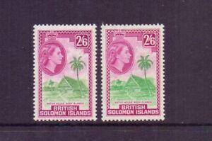 SOLOMON ISLANDS 1956-63 2/6 x BOTH SHADES SG93-93a MH CAT £32