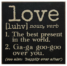 LOVE Definition Wooden Block Sign 6x6 Primitive Rustic Distressed Black Wood