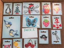 JOBLOT Embroidered Iron On Applique Patches Motifs Skulls Cherry Butterfly x 18