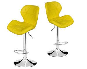 2x Faux Leather PU Bar Stools Breakfast Bar Chair Kitchen Stool Swivel Barstool