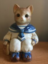 👀 VINTAGE MERVYN'S WILBUR SAILOR CAT CERAMIC COOKIE JAR GLASS EYES JAPAN