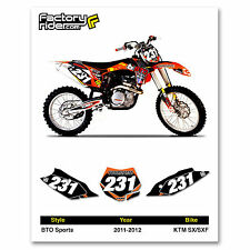 2011-2012 KTM SX-SXF Dirt Bike Graphics Motocross Custom Number Plates BTO Sport