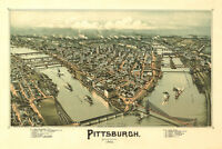 Pittsburgh Pennsylvania 1902 Vintage City Map Canvas Giclee Print 36x24 in.