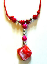 COLLIER ETHNIQUE Coquillage PERLES BIJOUX shell necklace ROUGE ROSE