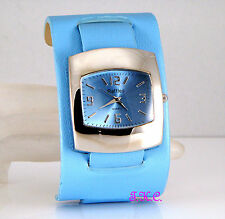 Ossie Eame Retro 60s 70s Club Bubble Pod Sky Blue Faux Leather Ladies Cuff Watch