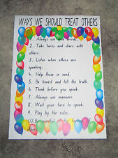 Teacher Resource Classroom Poster WAYS WE SHOULD TREAT OTHERS Primary Infants BN