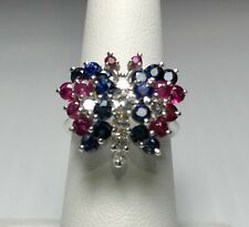 Sapphire Rubies Diamond Butterfly Ring, STUNNING!! 14K White Gold Size 6.5