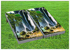 Vinyl Wraps Cornhole Boards Decals Tropical Waterfall BagToss Game Stickers 807