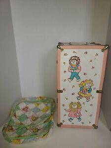 LARGE VINTAGE CABBAGE PATCH Kids Doll WARDROBE TRUNK CLOSET CASE & Cloth Bag