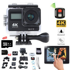 Wifi 4K Sports Cam Ultra HD Helmet Mini DV Action Camera W/Remote+2Battery+16GB