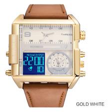 BOAMIGO Men Sports Watches 3 Time Zone Big Leather Rectangle Quartz Wristwatches