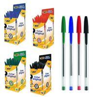 Genuine BIC Cristal Ballpoint Pen Ink Black Blue Red Green Medium LongLife Cheap