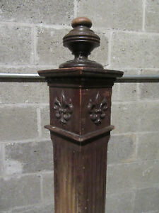 ~ ANTIQUE CARVED NEWEL POST 53 TALL ~ ARCHITECTURAL SALVAGE ~