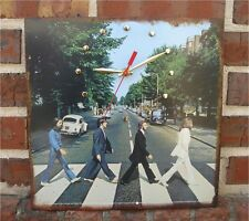"Clock made w/a BEATLES Album Cover Art Wall Sign / ""Abbey Road"" (1969)"