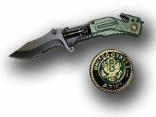 Army Medallion Spring Assisted Knife w Led Light/Belt Cutter/Glass Breaker