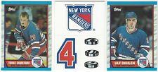 10 1989-90 TOPPS HOCKEY NEW YORK RANGERS CARDS (SANDSTROM/TEAM LOGO STICKER+++)