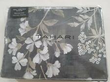 Tahari 3 pc King Duvet Cover Set Floral Botanical Butterflies Taupe Grey New