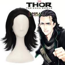 Anime Fancy Party The Avengers Loki Black 40CM Short Layered Anime Cosplay Wig