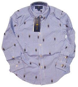 Polo Ralph Lauren Boys Blue Polo Bear Gingham Long Sleeve Button Front Shirt