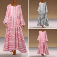 US Women Long Sleeve Kaftan Vintage Party Dresses Striped Long Dress Shirt Dress