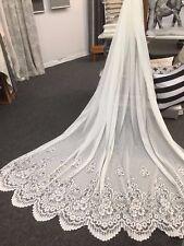 8.2 m  Carol Anne  Lace Curtain -IVORY -260 cm drop NO Rod Pocket  -Beautiful